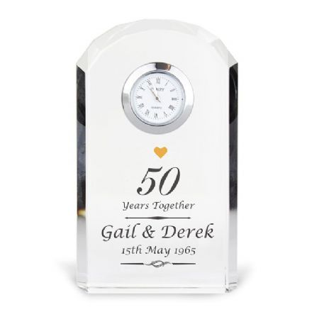 Personalised 50th Golden Wedding Anniversary Crystal Clock